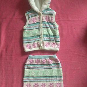 Gymboree, skirt,vest set. Size 5/6